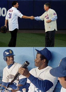 Mike Piazza and Tom Seaver say goodbye in and to Shea Stadium; The Griffeys engage in some on-the-job banter.